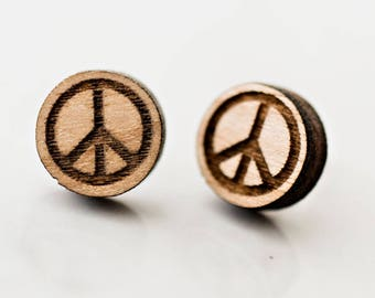 Laser Cut Peace Sign Stud Earring gifts for her