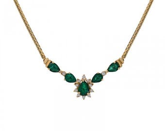 2.50 Carat Pear Cut Emerald Necklace With 0.14 Carat Round Cut Diamonds 14K Yellow Gold