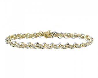 1.50 Carat Diamond X-Shaped Link 14K Two Tone Gold Bracelet