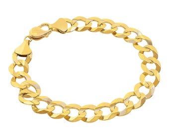 11.3mm 10K Yellow Gold Curb Link Bracelet