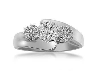 0.50 Carat Round Cut Diamond Cluster Engagement Ring 14K White Gold