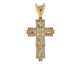 3.00 Carat Round & Square Cut Cubic Zirconia Cross Pendant 10K Yellow Gold