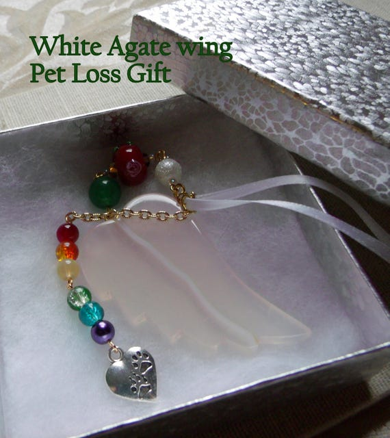 Pet loss Gift -  white agate angel wing -  pale pink  pendant - Pet lover -  paw charm memento - fur baby - cat /dog  keepsake - gift box