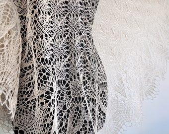 lace shawl, beige  shawl, linen scarf, Summer Wrap, Knitted Linen Shawl, Hand Knit Shawl