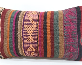 Decorative Kilim Pillow Floor Pillow Ethnic Pillow Naturel Kilim Pillow 12x20 Lumbar Kilim Pillow Turkish Kilim Pillow  SP3050-1431