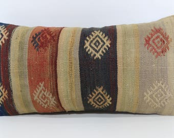 Embroidered Kilim Pillow Throw Pillow 12x24 Bedroom Handwoven Turkish Kilim Pillow Patterned Kilim Pillow Cushion Cover SP3060-1165