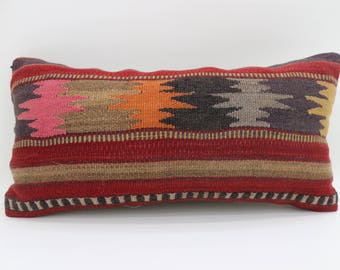 10x20 geometric kilim pillow decorative kilim pillow aztec kilim pillow bedrrom pillow lumbar pillow sofa pillow SP2550-1561