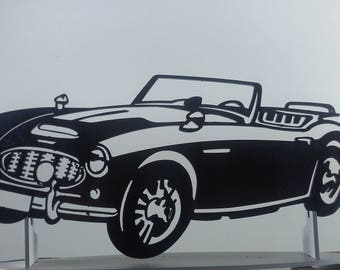 AUSTIN HEALEY sign iron plate painted hammered effect finish