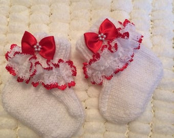 Baby hand knitted lace top booties