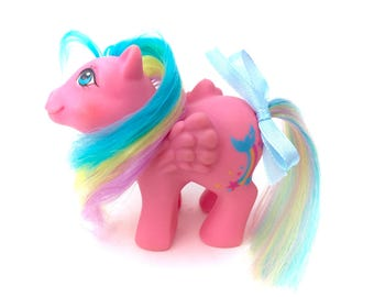 G1 My Little Pony Baby Brightbow Rainbow Pegasus Ponies Babies Original MLP Vintage 1980s Retro Toy Collector Kawaii Pastel Fairy Kei Pink