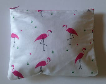 Flamingo, makeup clutch, makeup bag, makeup pouch