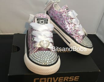 Custom pink mixed converse glitter bling wedding converse baby bling