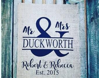 Mr & Mrs hessian print, Mr and Mr, Mrs and Mrs,hessian/burlap print,wedding decor, wedding gift,engagement gift, house warming gift,Rustic