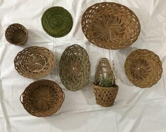Wall Basket Set- Boho Collection Wall Hanging. Free Shipping