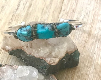 Turquoise-Jewelry,  Raw Turquoise Bangle Cuff, December birthstone, turquoise for women, Turquoise Bracelet, personalized gift, Gift For Her