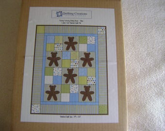 Fuzzy Wuzzy Baby Bear Blue Laser Cut Flannel Quilt Kit/Stencil/Instructions/Material