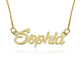 Personalized Necklace, Solid Gold Name Necklace, SOLID 14K YELLOW GOLD Necklace, Customized Pendant, Charm Necklace, Jewelry Gift