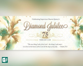 Teal Diamond Jubilee Bookmarker Publisher Template (10 Gold Nugget Digits Included)