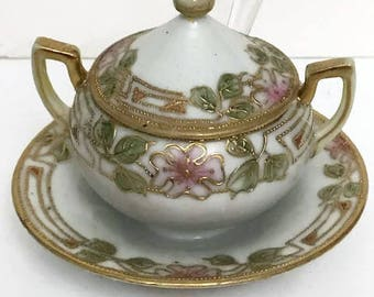 Nippon Two Handled Sugar Bowl With Spoon Antique  Hand Painted with Spoon