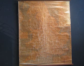Vintage Road Mileage Scroll down hanging Map of England & Wales