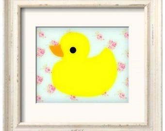 Rubber Ducky Art Print - Shabby Chic 1 (8x10)