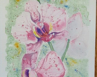 Orchid art watercolour painting original flower art one off painting, an original watercolour painting of my phalaenopsis orchid