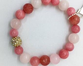 Rose Quartz, Pink Jade, Cherry Agate Bracelet, Aurora Borealis, Valentines Day Gift for Her, Gold AB Pave Bead, Pastel Boho Healing Bracelet