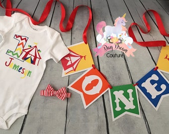 Carnival birthday shirt circus onesie birthday top rainbow circus outfit carnival tent 1st 2nd 3rd first second thing birthday banner