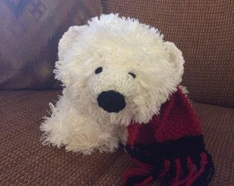 Furry stuffed polar bear