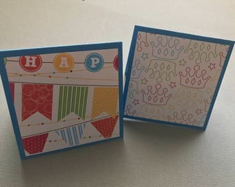 Mini Note Cards Set: 3x3 Cards; Happy Birthday Banner; Gift Enclosure; Tag