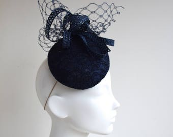 Navy Chantilly Lace Hat - Navy Fascinator-  Navy Percher Hat - Navy Cocktail Hat - Navy Blue Wedding Hat - Navy Race Day Hatinator - Bella