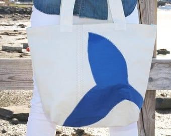 Blue Whale Tail - Small Recycled Sail Bag - Every Day Tote