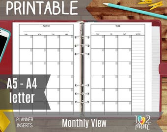 Monthly Printable Planner Insert: Monthly View, A5 Monthly Refill, Undated Monthly Page, Monthly Planner Inserts, A5, A4 and letter size pdf
