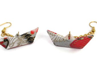 Earrings ship origami Japanese paper red and silver jewelry