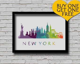 Cross Stitch Pattern New York City Silhouette Watercolor Effect Decor Embroidery Modern Ornament NYC Skyline Art xstitch Diy Chart