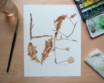 Winter Leaves Love Watercolor Art Print by Laura Poulette