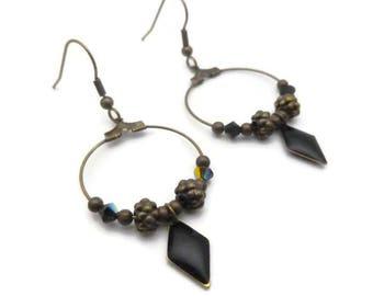 Earrings Creole chic ethnic black