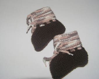 Baby booties 3 months Heather/brown color hand-knitted