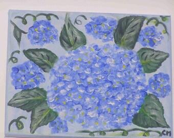 """Blue hydrangea"" painting on canvas (24x30cm) frame"