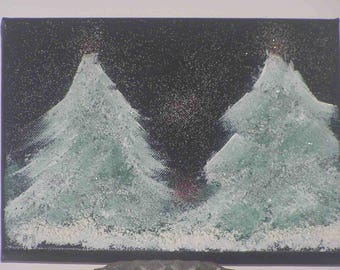 "Painting ""Snowy trees"" on canvas (18x24cm) frame"