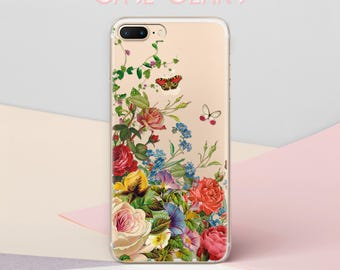 Flowers iPhone 7 Clear iPhone 5s iPhone 5c Case Phone Transparent Phone Case iPhone 8 Case Clear iPhone 6s Plus Case 5s Phone Case  CGCP0113