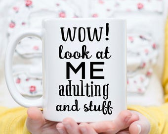 Adulting Coffee Mug, Coffee before Adulting Mug, Corporate Gift, Coffee Office Gift, Gift for Her, Funny Mug, I Can Adult, I'm an Adult