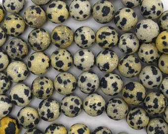 "8mm matte dalmatian jasper round beads 15"" strand 38644"