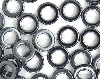 """16mm hematite donut beads 16"""" strand 35512"""