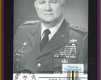 General Norman Schwarzkopf in Operation Desert Storm - 1991 First Day of Issue Desert Shield Postcard