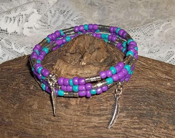 Southwestern Feathers Purple & Teal Glass Beaded Silver Artisan Crafted Wrap Bracelet (M-L)