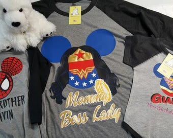 Customizable Family Marvel or DC Comics Superheroes on Heather Grey Raglan Shirts with 3/4 Length Black Sleeves with Optional Text