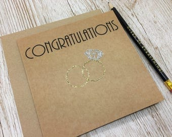 Wedding Day Congratulations Card with Entwined Gold Rings- Congratulations - Wedding Day Congratulations