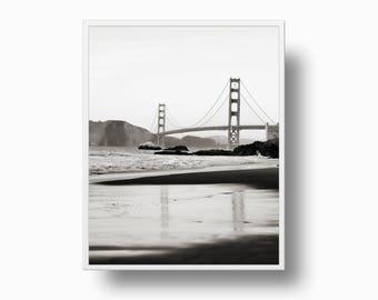 Golden Gate Bridge Print, Black and White San Francisco Print, California Landscape, San Francisco Photo, bridge reflection print