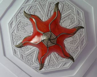 Morocco Oriental ceiling lamp Marrakech light henna leather, Ø 50 cm